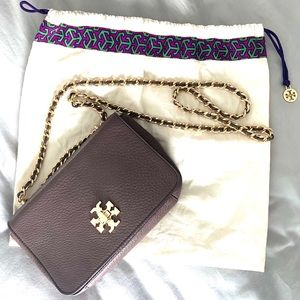 Tory Burch large chain purse. Mocha brown leather.